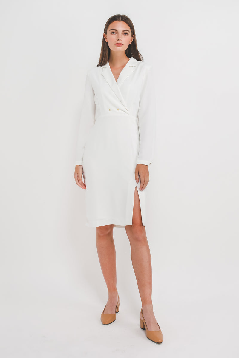 Blazer Dress w Front Slit In White