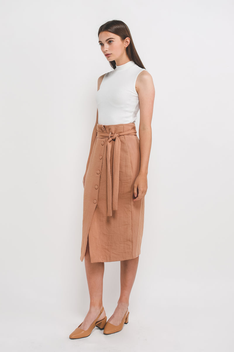 Textured Button Down Skirt w Sash In Taupe