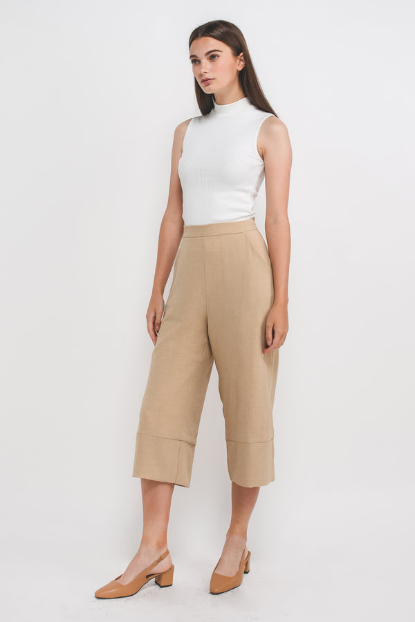 Textured Culottes w Hem Detailing In Sand