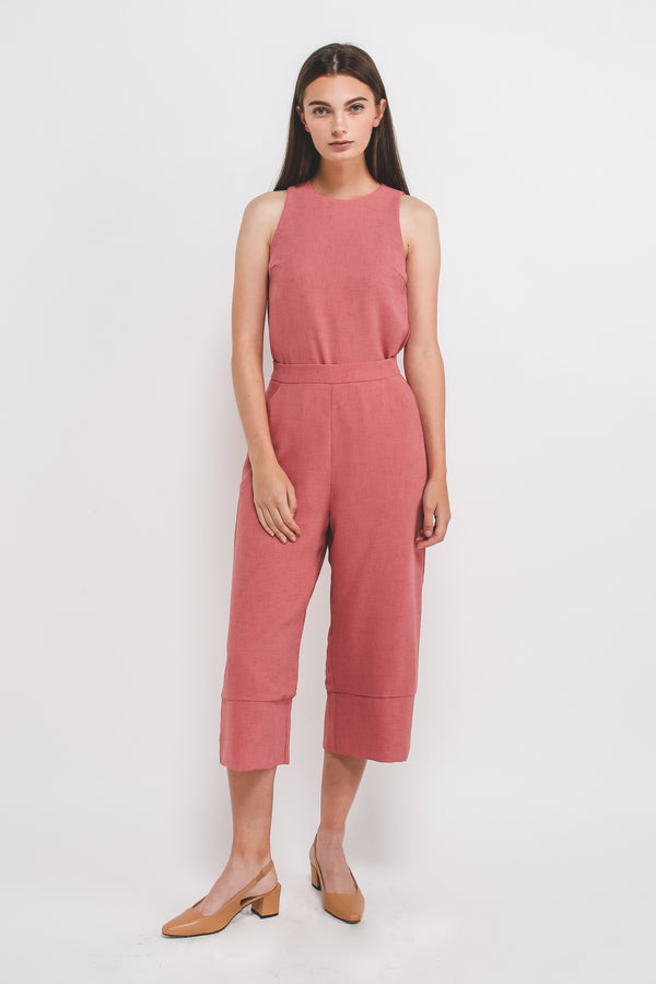 Textured Culottes w Hem Detailing In Pink