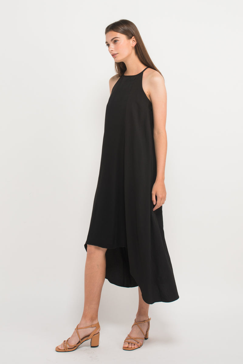 Pleated Halter Dress in Black