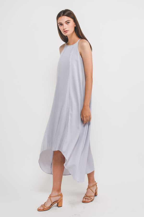 Pleated Halter Dress In Pastel Blue