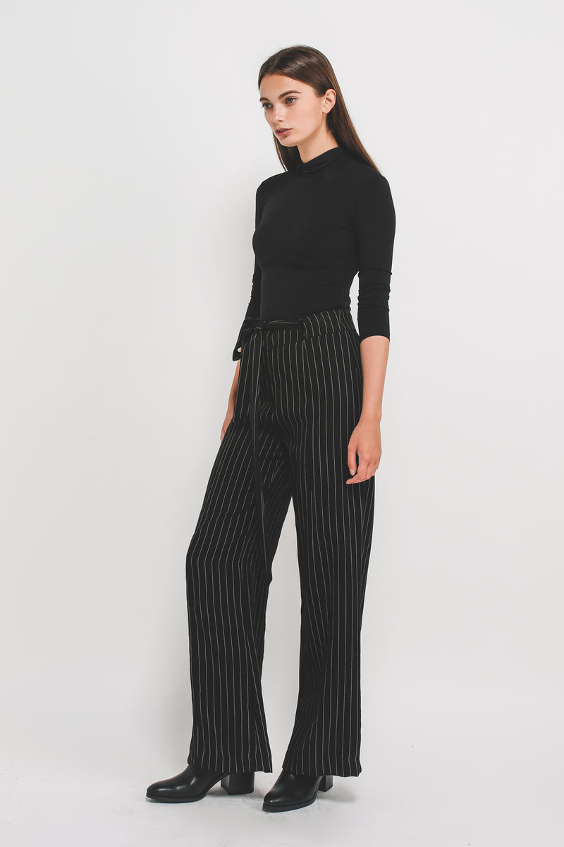 Wide Legged Pants In Black W White Stripes