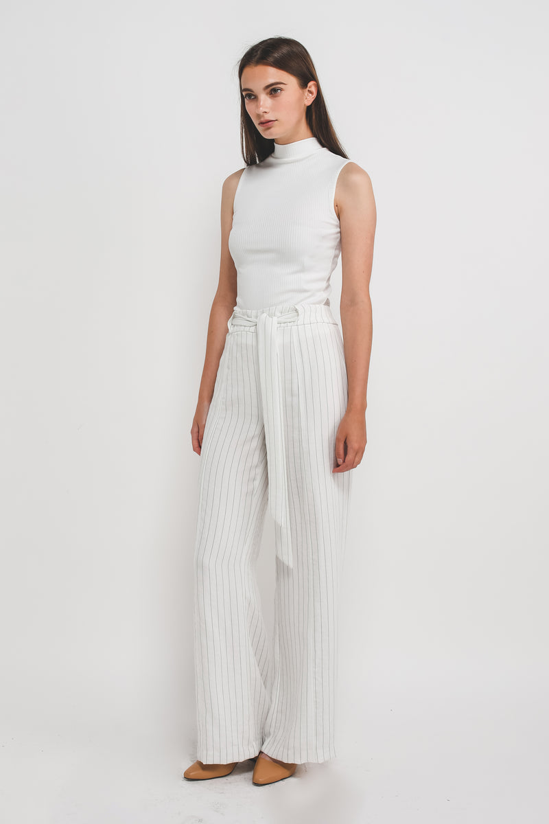 Wide Legged Pants In White W Black Stripes