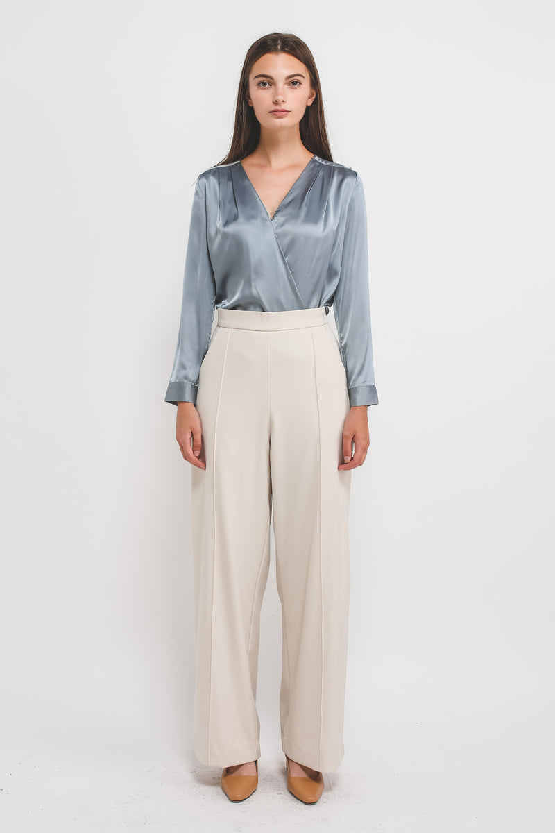 Classic Sheen V Neck Blouse in Powder Blue