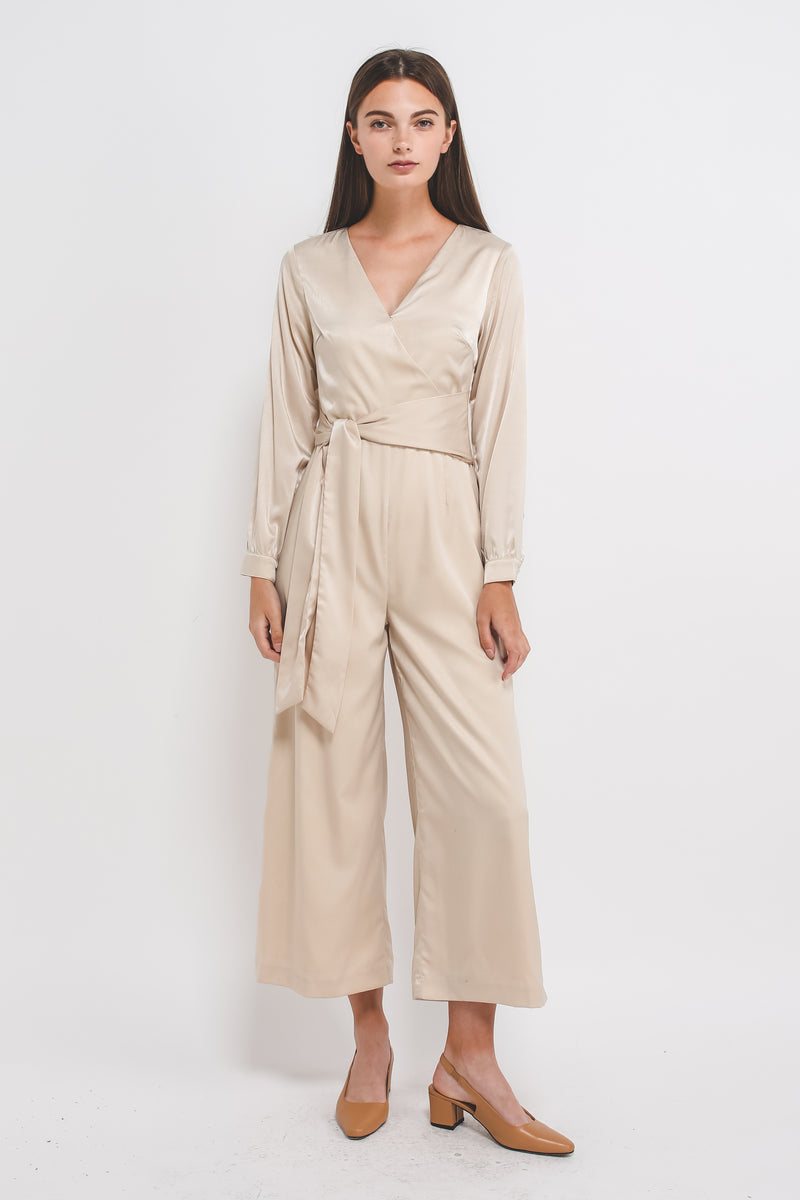 Wrap Jumpsuit W Asymmetrical Sash In Cream Sheen