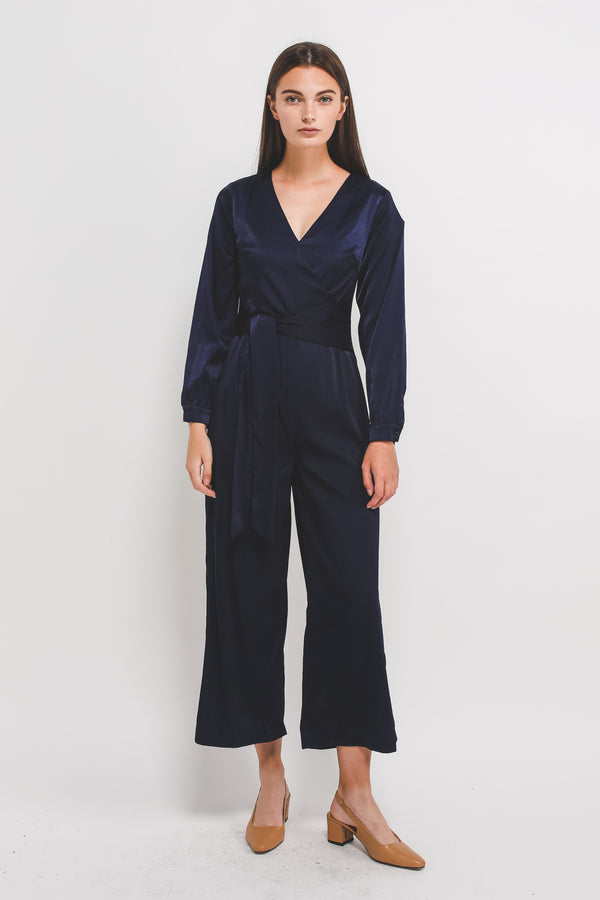 Wrap Jumpsuit W Asymmetrical Sash In Navy Blue Sheen