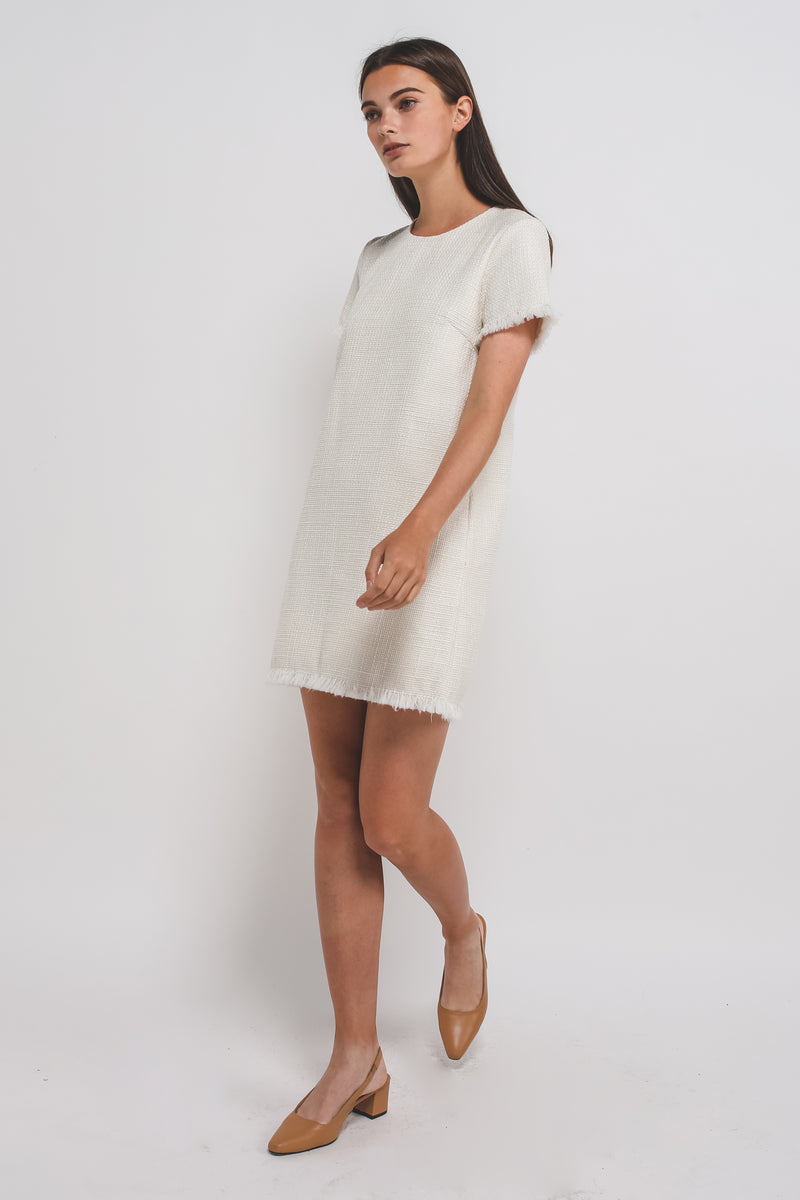 Tweed Classic Shift Dress In White