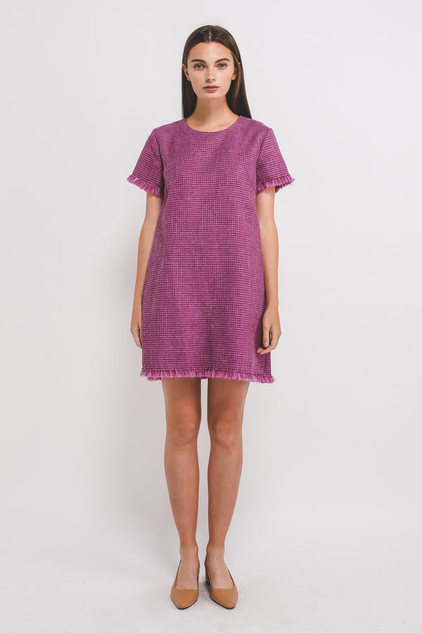 Tweed Classic Shift Dress In Magenta Pink