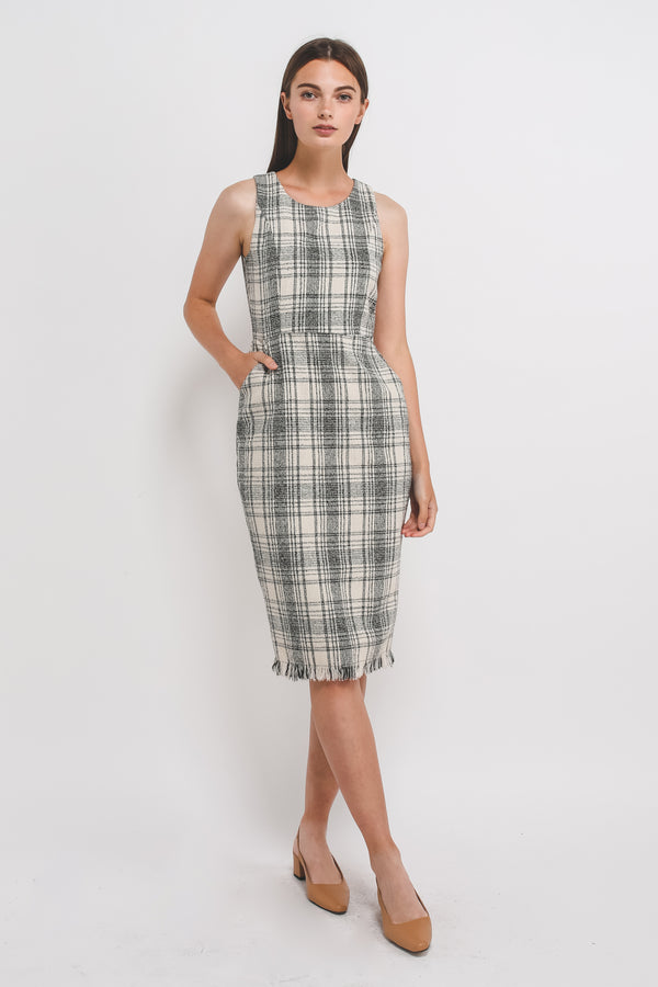 Tweed Sleevless Midi Dress In Cream
