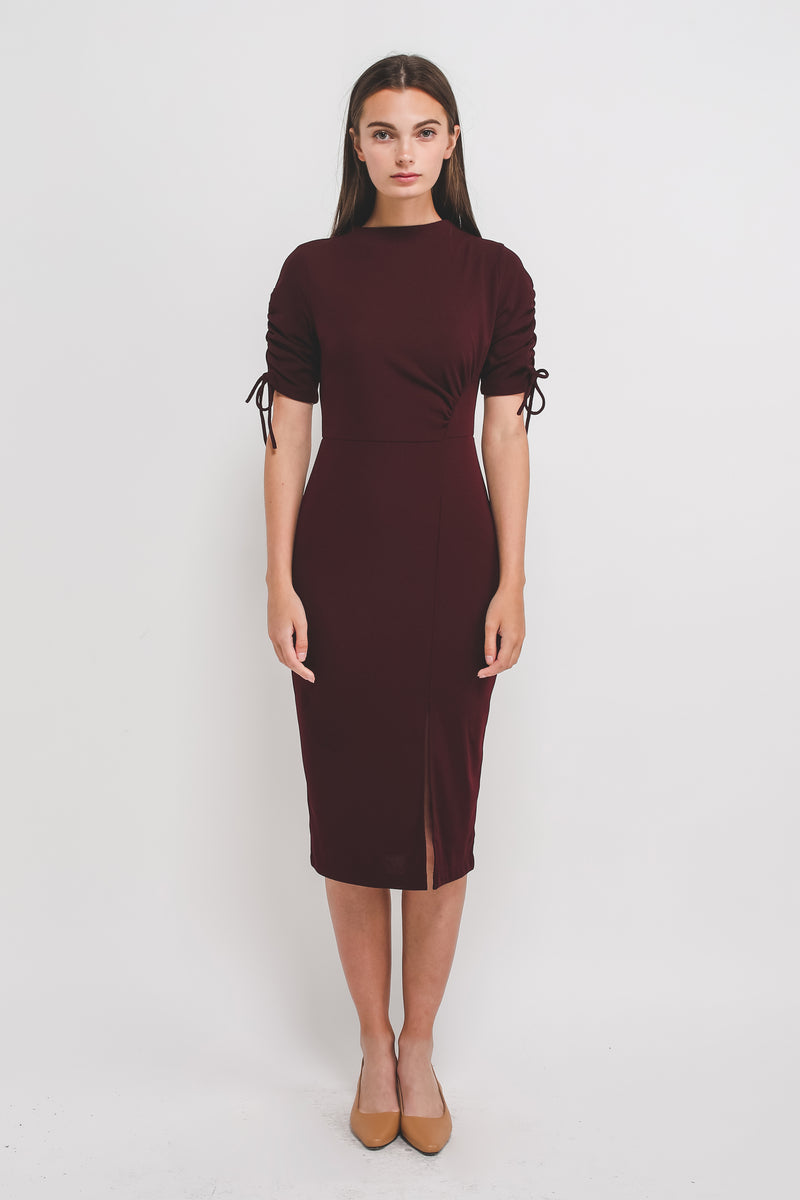 High Neck Midi Dress W Rouched Sleeves In Ribbed Knit In Maroon