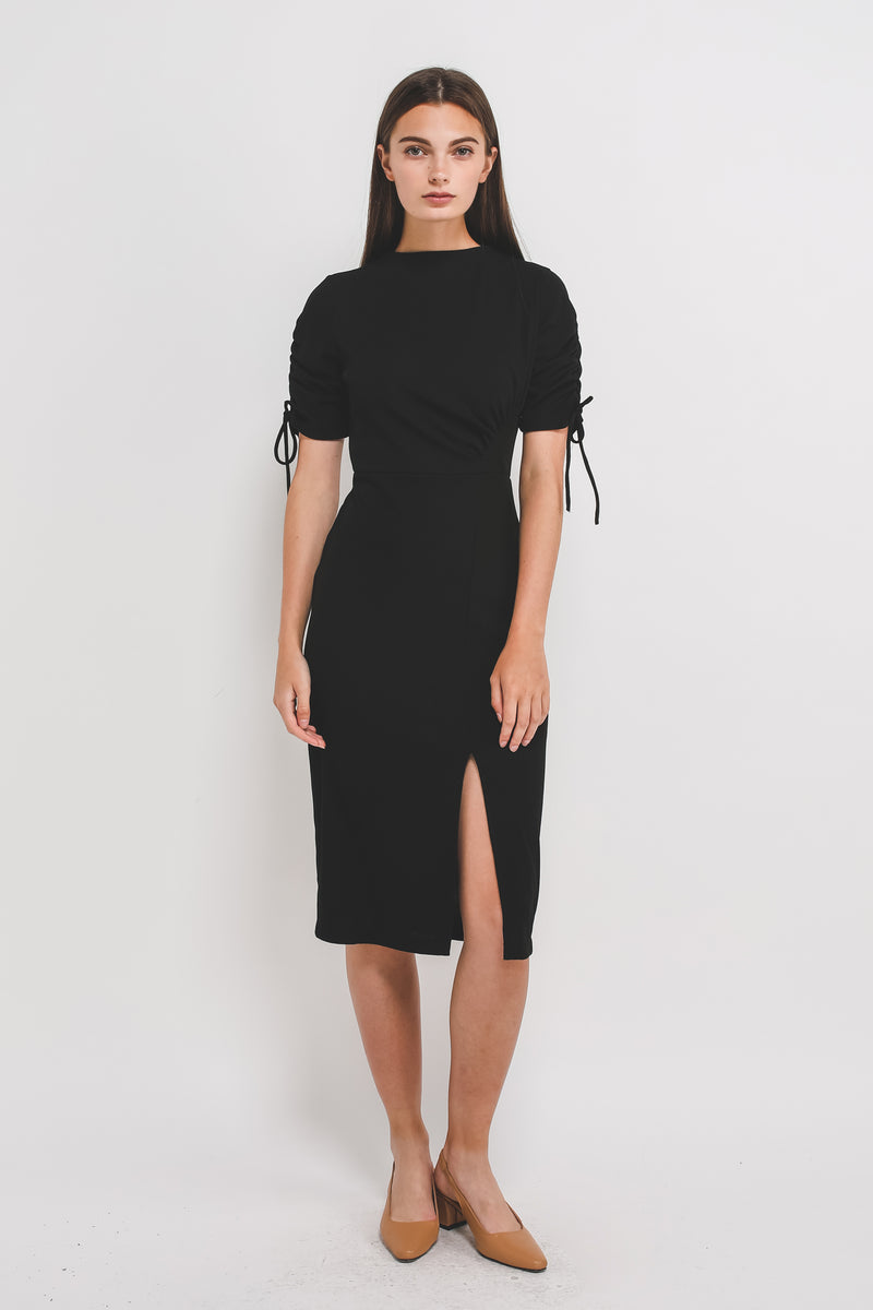 High Neck Midi Dress W Rouched Sleeves In Ribbed Knit In Black