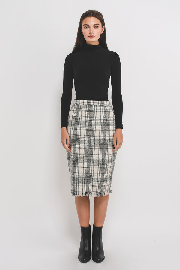 Tweed Midi Pencil Skirt In Cream