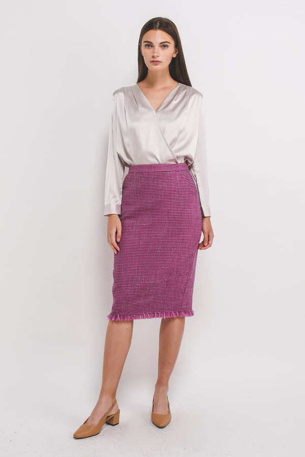 Tweed Midi Pencil Skirt In Magenta Pink