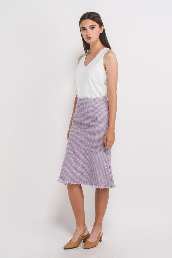 Tweed Mermaid Midi Skirt In Lilac