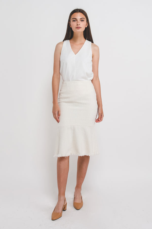 Tweed Mermaid Midi Skirt In White