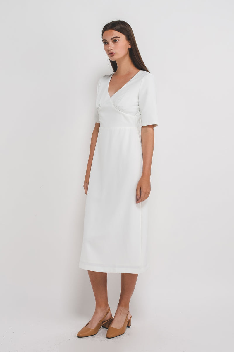 V Stitchline Detailing Sleeved Midi Dress In White