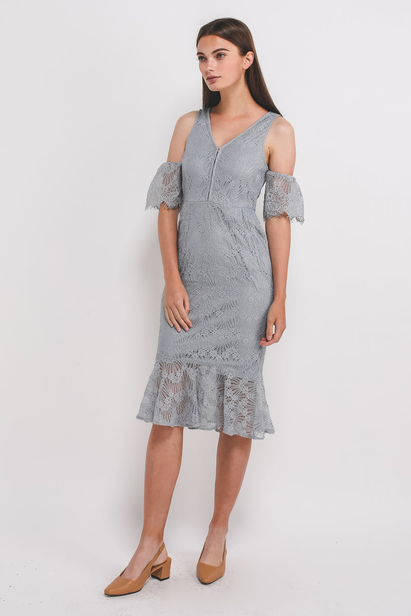 V-Neck Lace Mermaid Hem Dress W Detachable Sleeves In Powder Blue