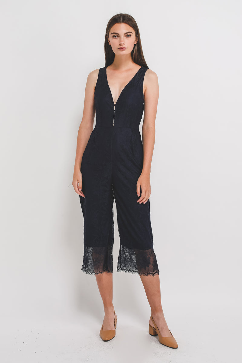 V-Neck Lace Jumpsuit In Navy Blue