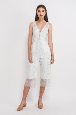 V-Neck Lace Jumpsuit In White