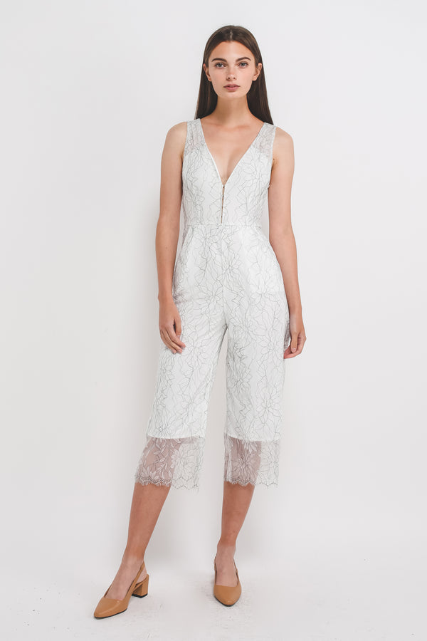 6b4970b700a3 ... V-Neck Lace Jumpsuit In White