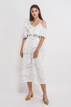 KLARRA x Caro Yanez | Asymmetrical Off Shoulder Sleeved Jumpsuit In Print