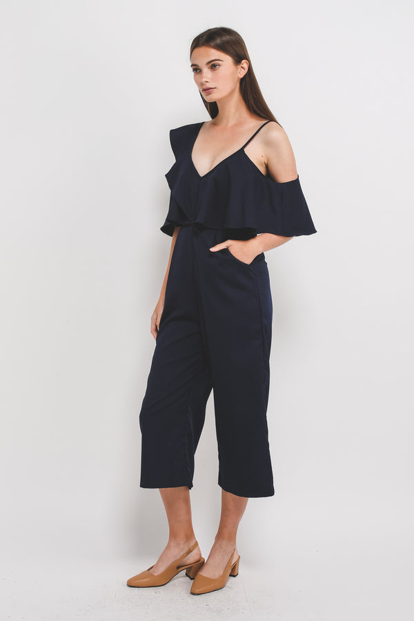 Asymmetrical Off Shoulder Sleeved Jumpsuit In Navy Blue