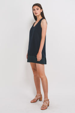V-Neck Sleeveless Layered Dress With Front Zipper In Navy Blue