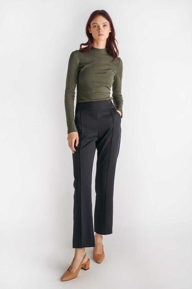 High Waisted Tailored Trousers In Navy Blue
