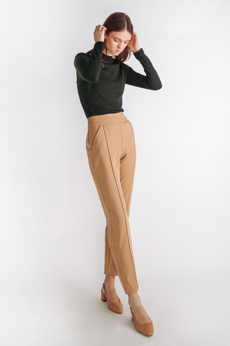 High Waisted Tailored Trousers In Camel