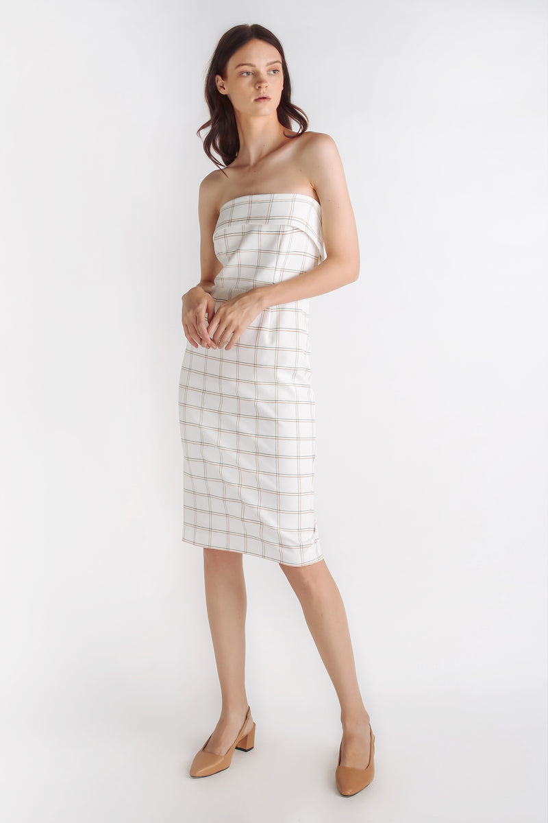 Checkered Tailored Dress With Detachable Straps In White
