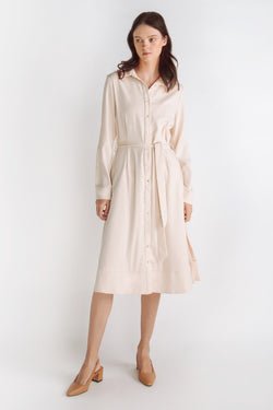 Button Down A-line Dress With Sash In Cream
