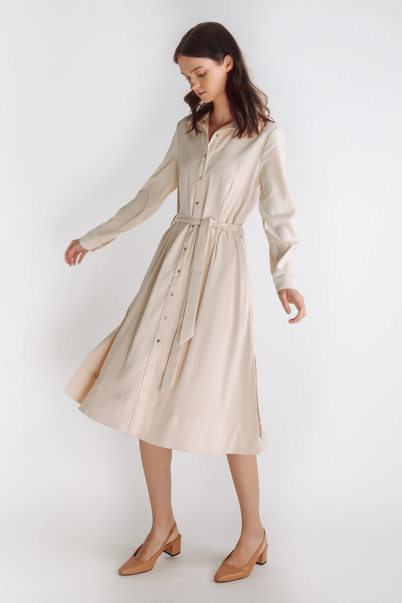 Button Down A-line Dress With Sash In Champagne