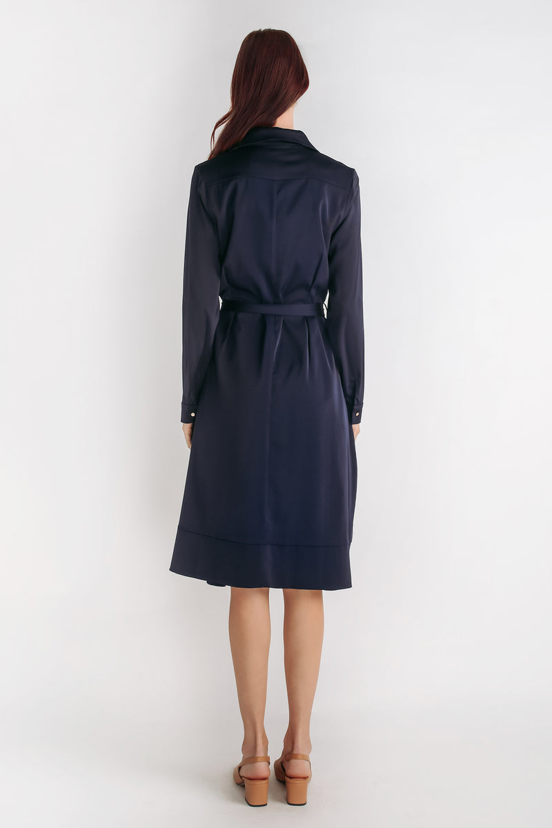 Button Down A-line Dress With Sash In Navy Blue