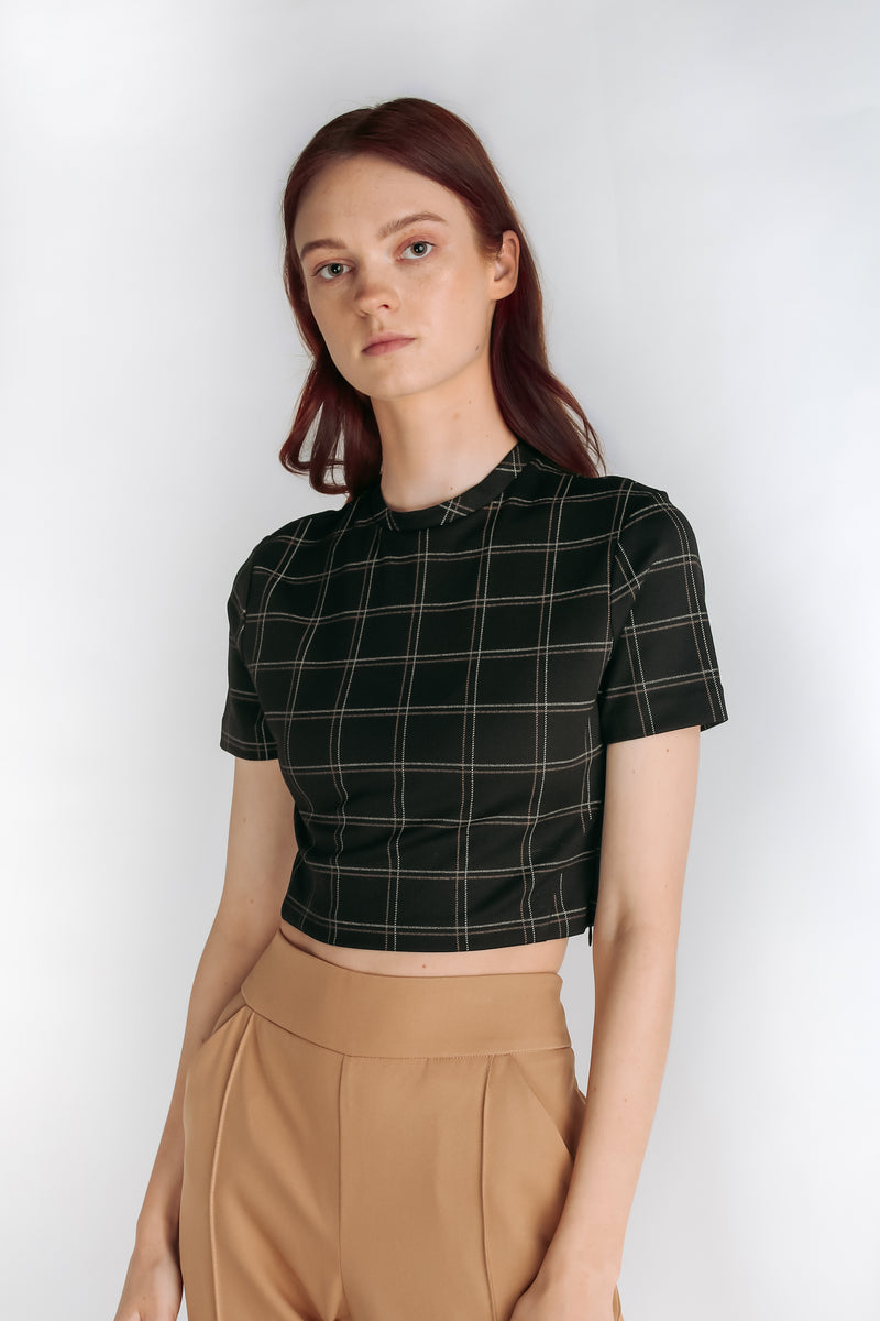 Checkered Crop Top in Black