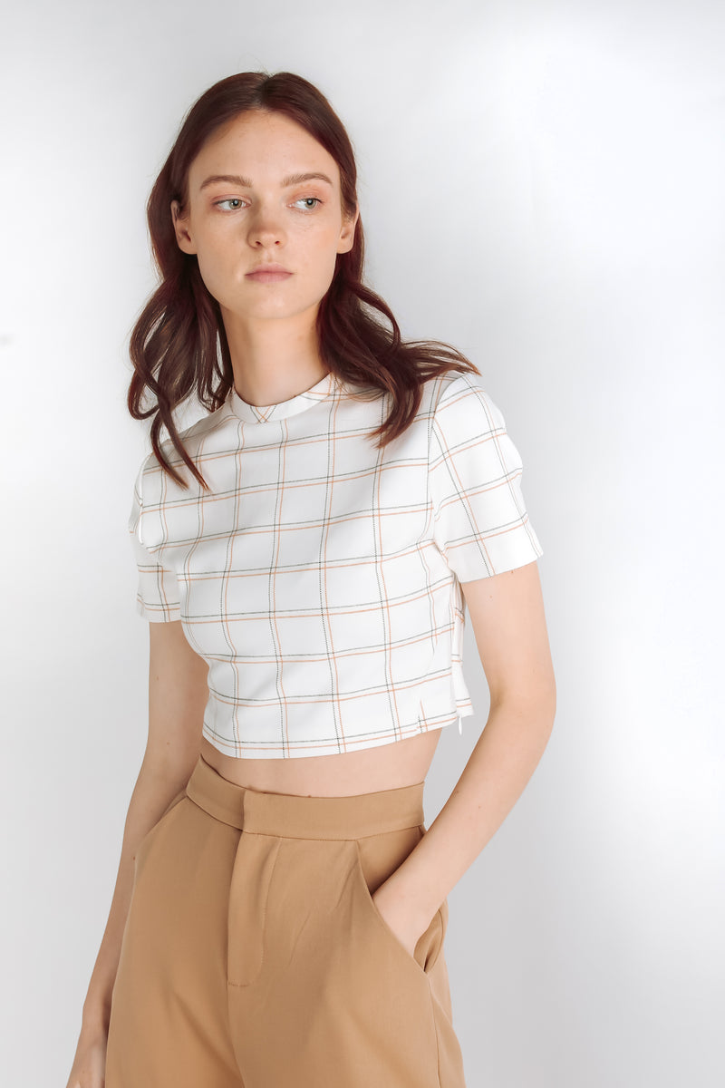 Checkered Crop Top in White