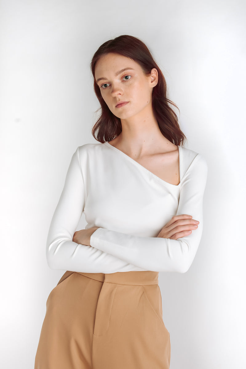 Asymmetrical Triangle Cutout Top in White