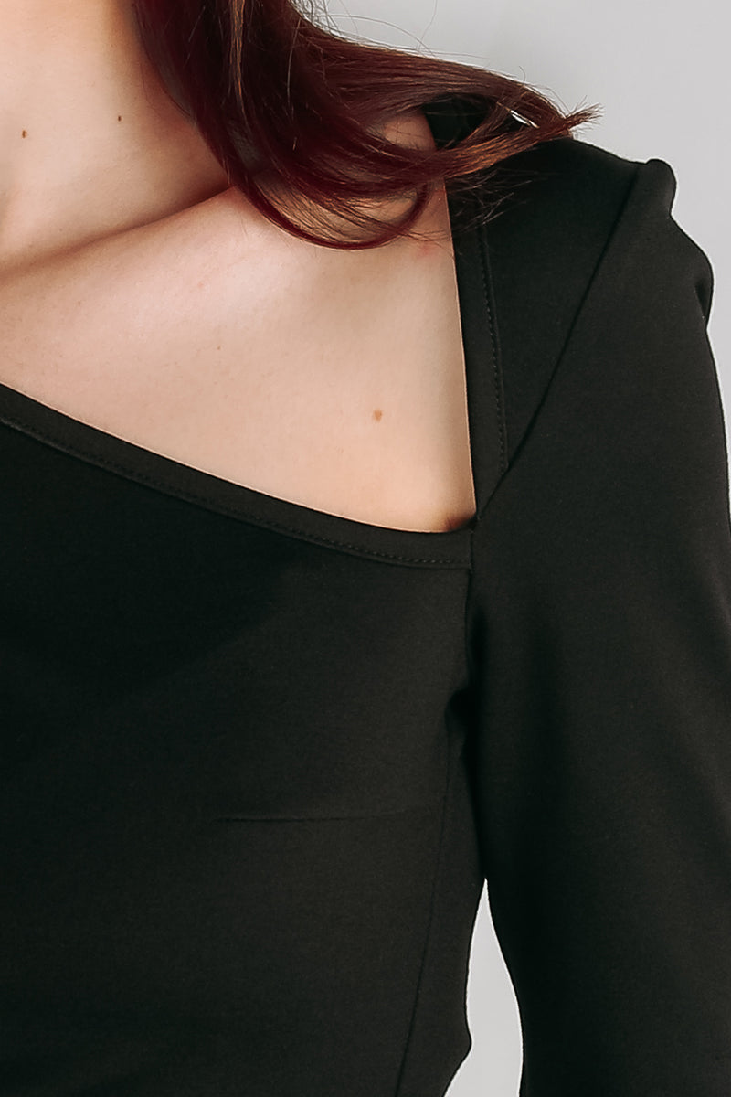 Asymmetrical Triangle Cutout Top in Black