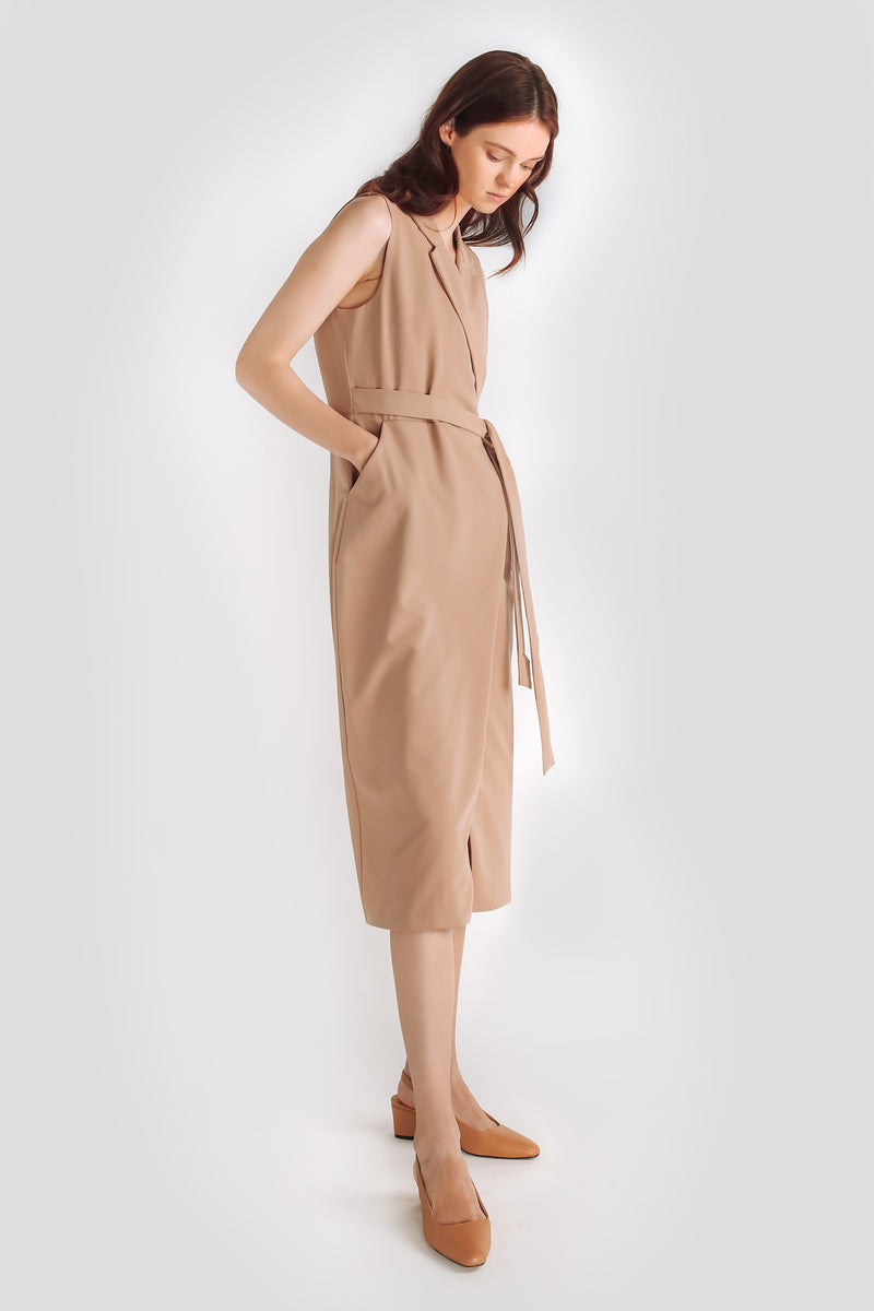 Classic Sleeveless Wrap Dress W Sash In Camel