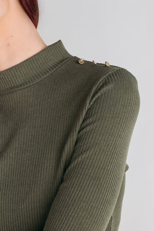 Shoulder Detailing Knit Top In Army Green