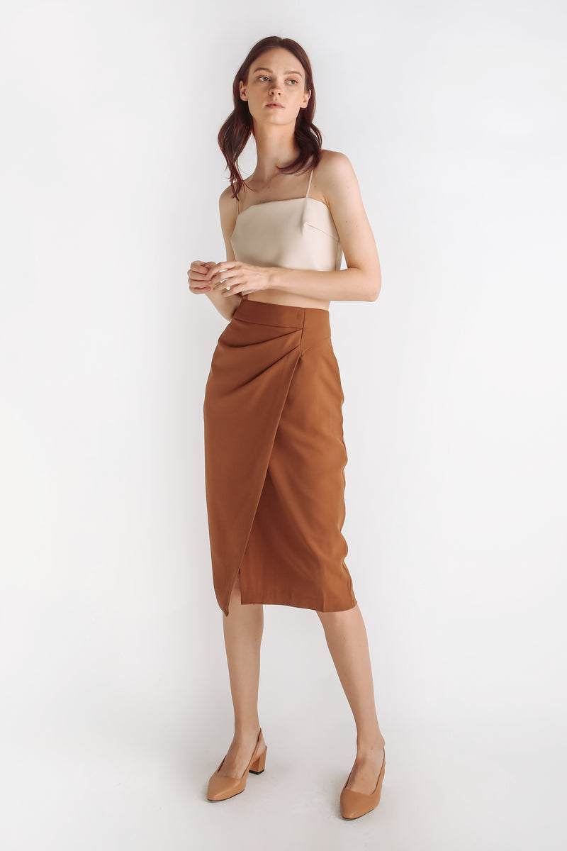 Folded Drape Midi Skirt In Camel