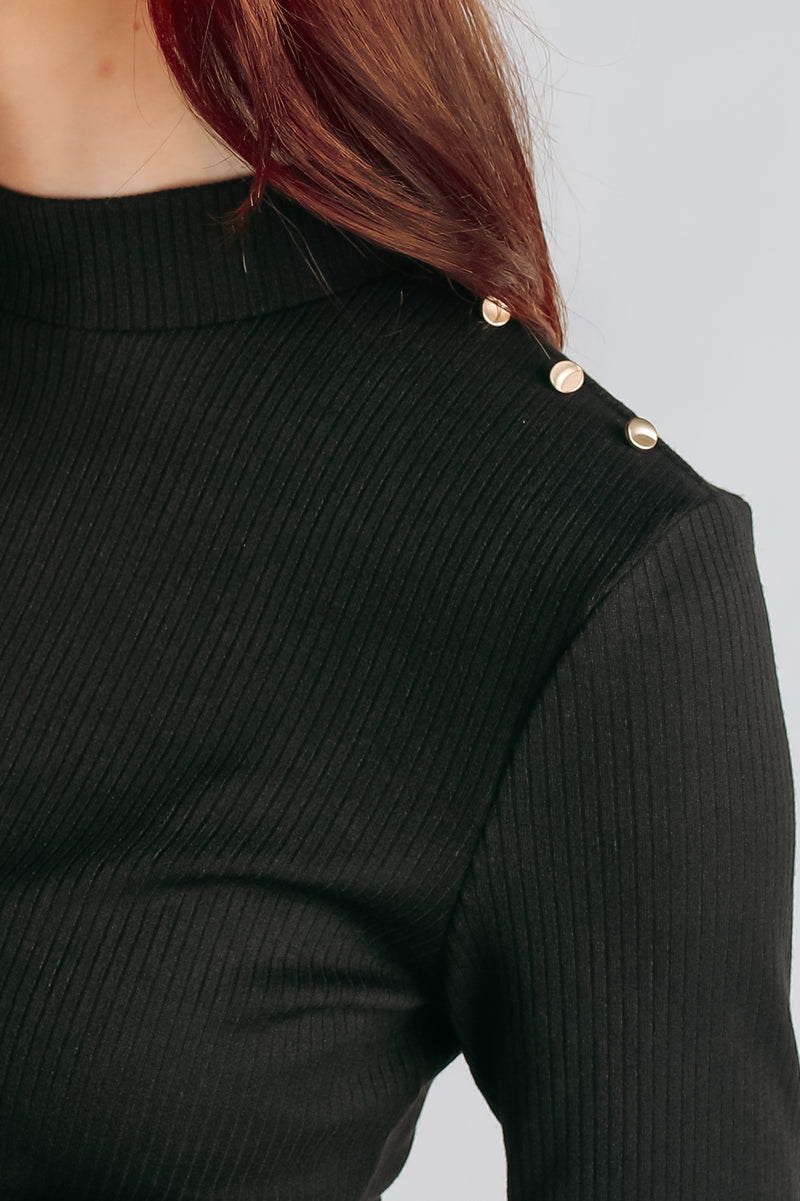 Shoulder Detailing Knit Top In Black
