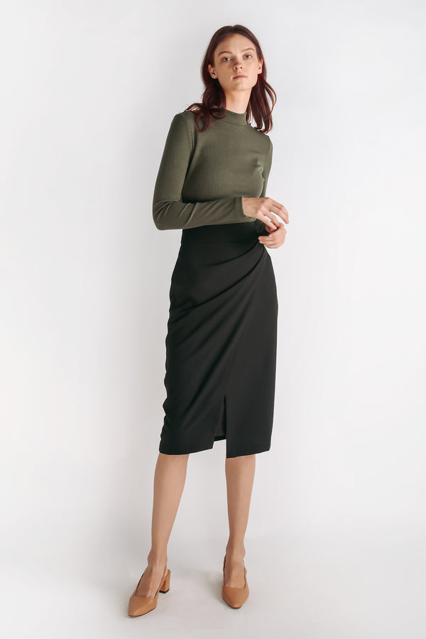 Folded Drape Midi Skirt In Black