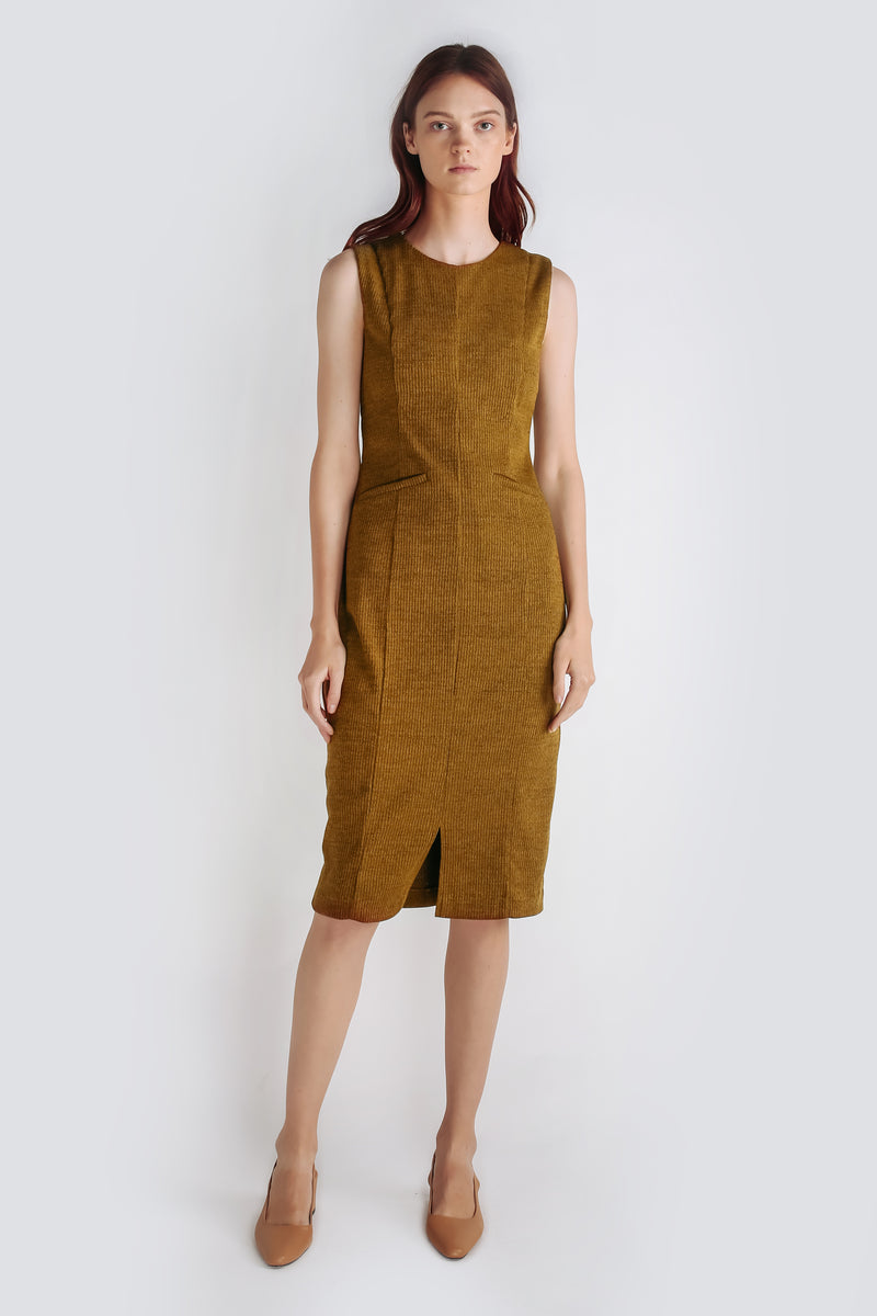 Textured Knit Sleeveless Dress In Mustard