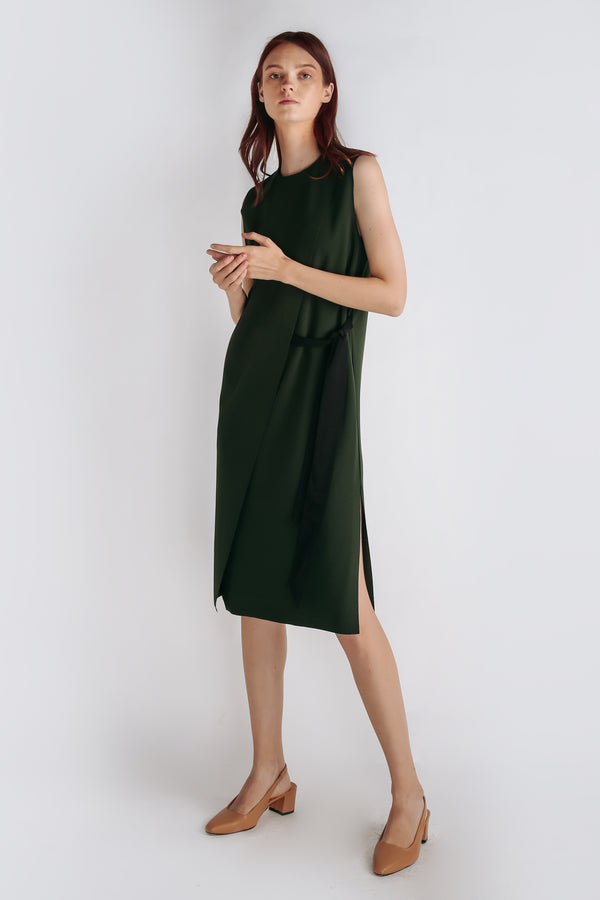 Panel Belted Dress In Forest Green