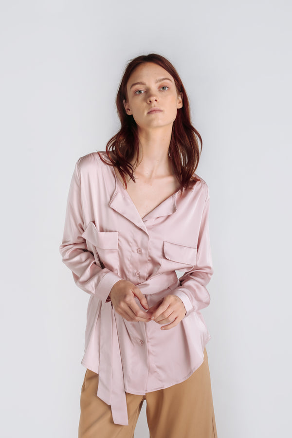 Sheen Button Down Blouse W Detachable Sash In Pink