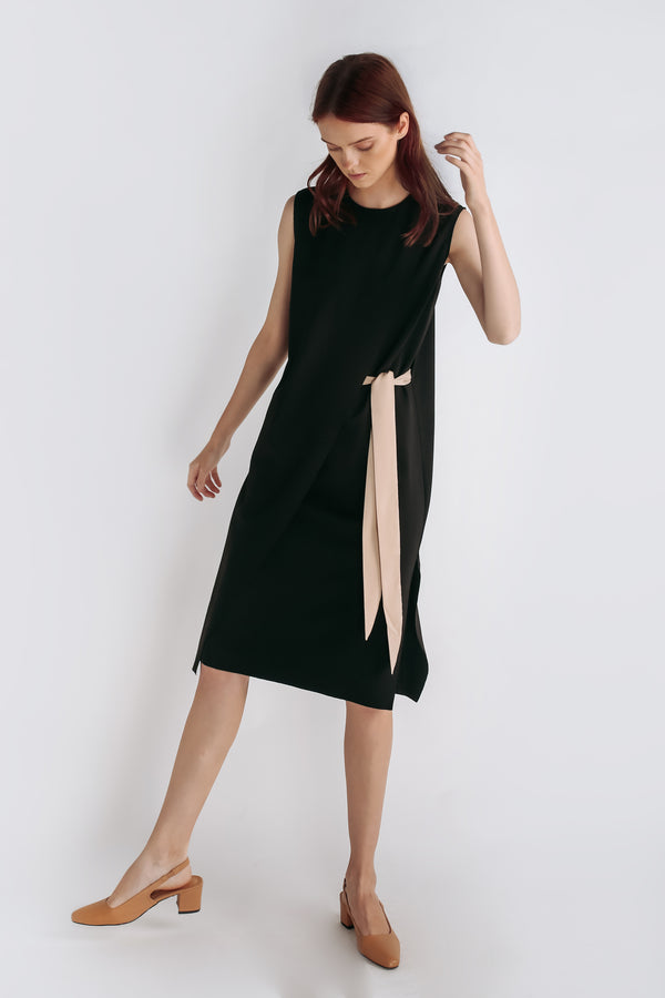 Panel Belted Dress In Black
