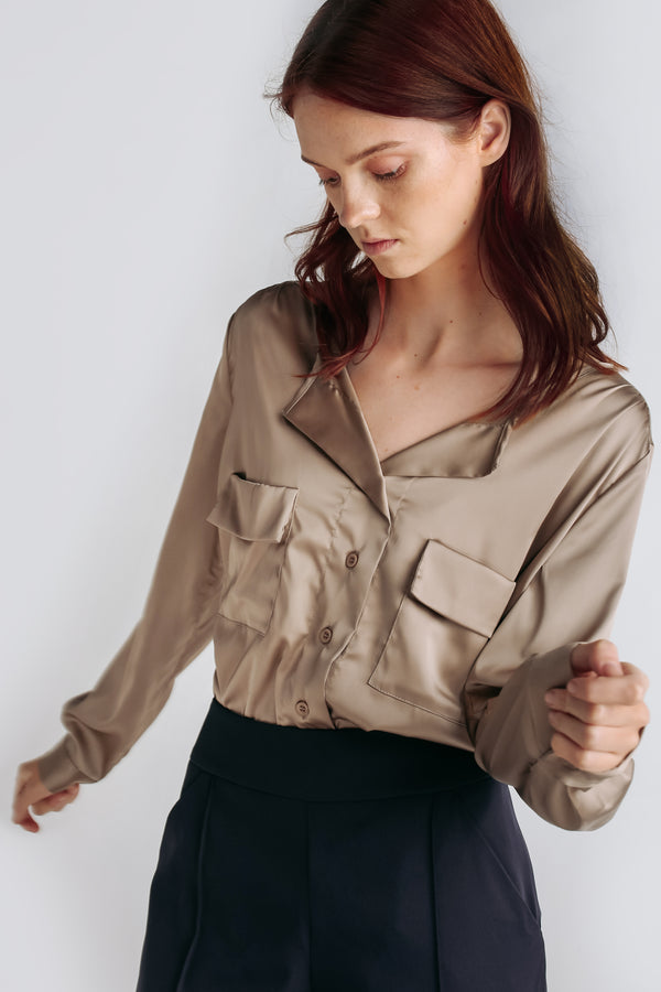 Sheen Button Down Blouse W Detachable Sash In Khaki