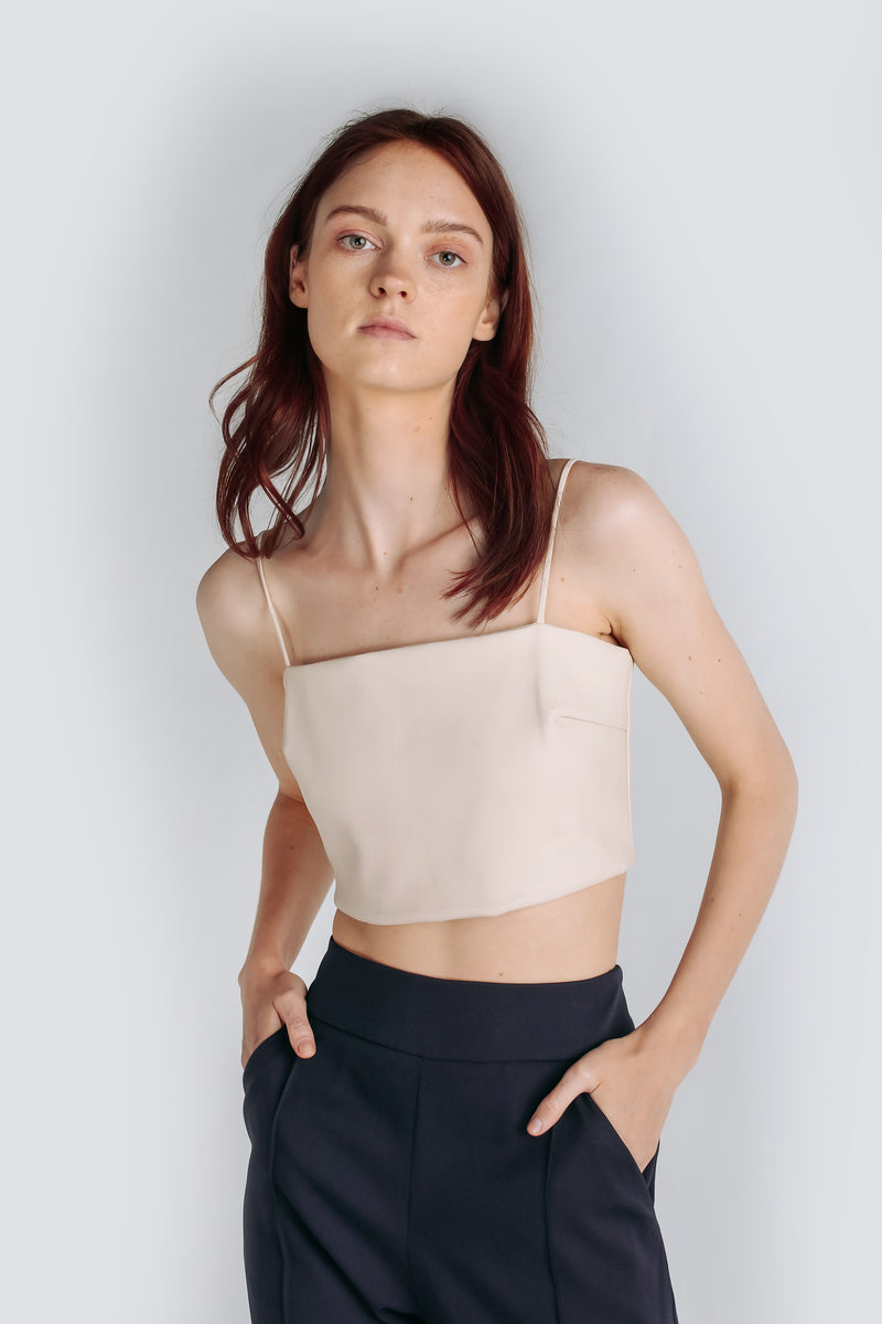 Leather Tube Top In Cream