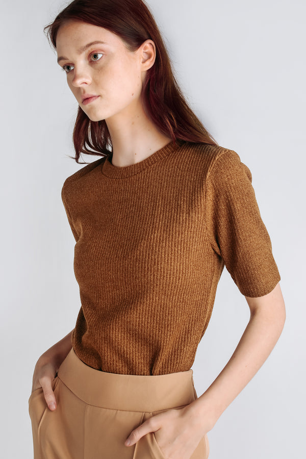 Classic Knitted Top In Mustard
